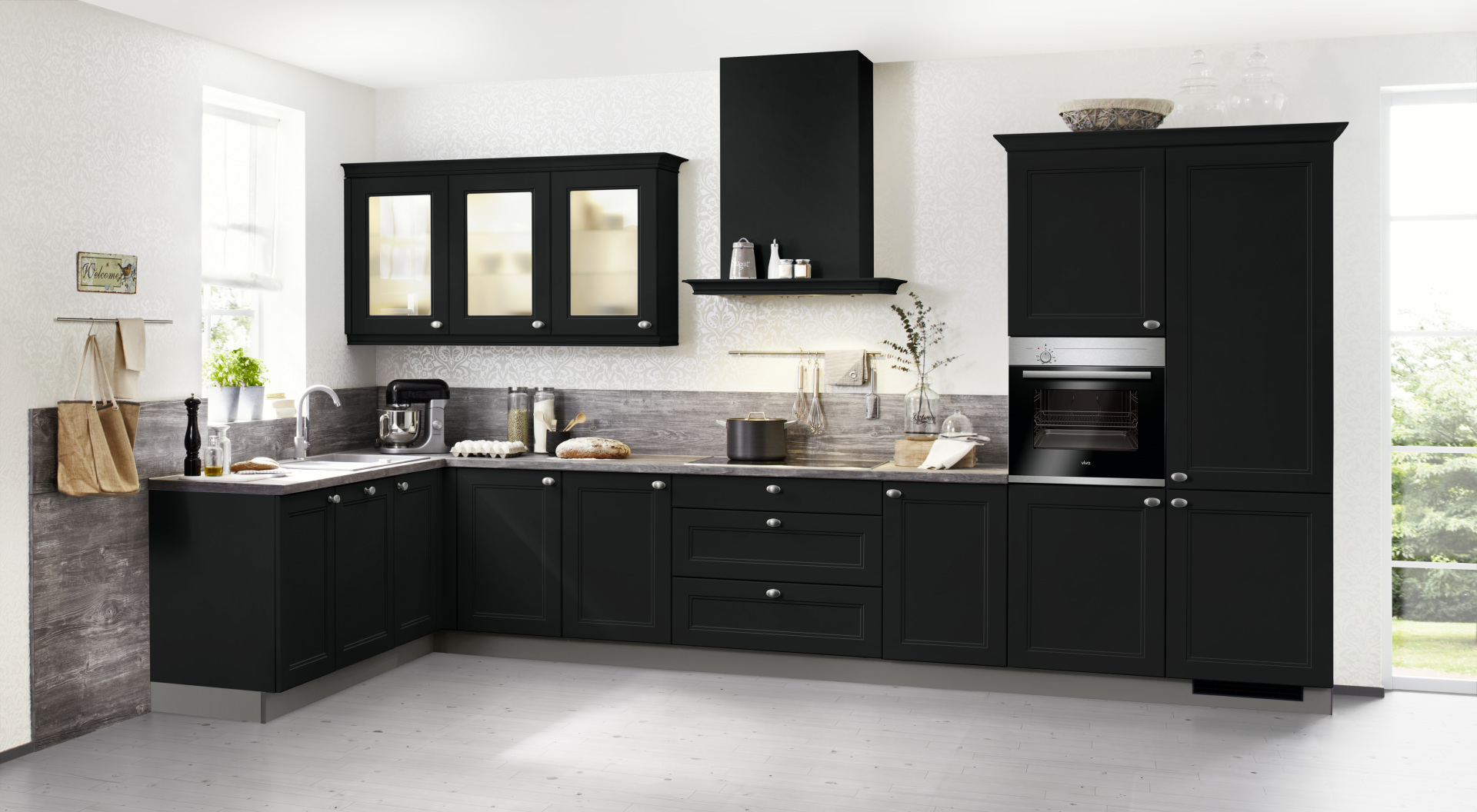 nolte k che windsor schwarz lack softmatt k chenexperte hannover. Black Bedroom Furniture Sets. Home Design Ideas