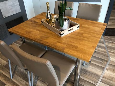 Tisch Eiche massiv Füße chrom 120 x 80 cm