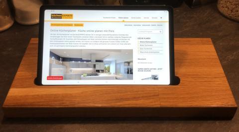 Tablet Halter auch für I-Pad aus Eiche massiv