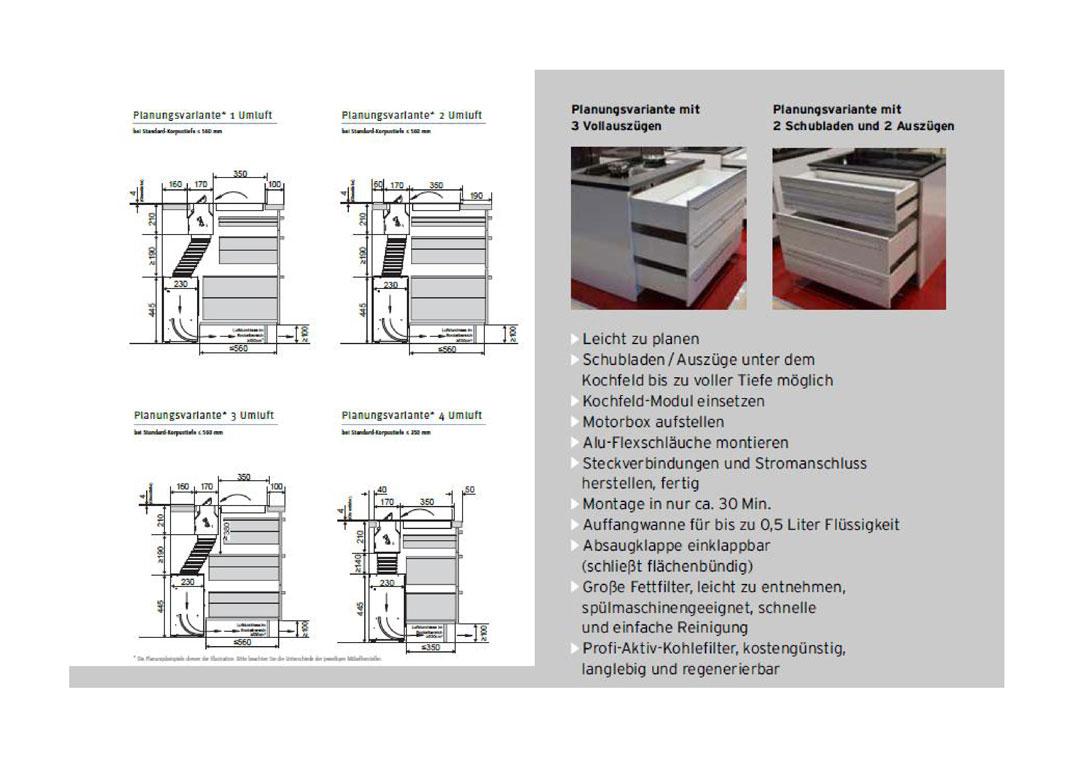 Planungsvarianten Kochfeldabzug KFL 2094