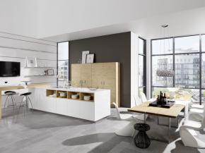 Nolte Artwood 22W - Wildeiche rustikal / Lux 361 - Weiß Hochglanz