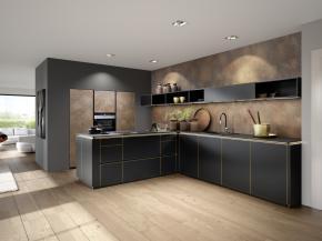 Nolte Küche Flair Schwarz mit Ferro Cortenstahl