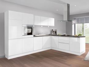Küche klassisch: Glas, weiß, Hochglanz