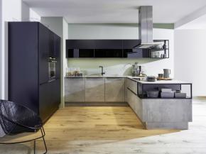 Nolte Küche Stone Beton mit Feel Schwarz