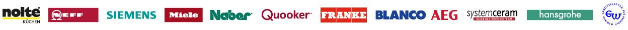 Wir arbeiten mit Küchen von ALNO, Bauknecht, beko, Bosch, privileg, Wellmann und vielen anderen namhaften Herstellern